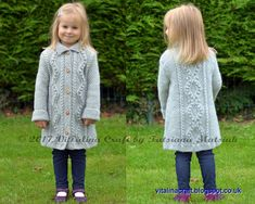 Knitting Pattern - Diamond Dust Coat (Toddler, Child and Teen sizes) Knitting For Kids, Baby Knitting Patterns, Baby Patterns, Crochet Patterns, Knitted Baby Cardigan, Knitted Coat Pattern, Aran Weight Yarn, Baby Coat, Moss Stitch