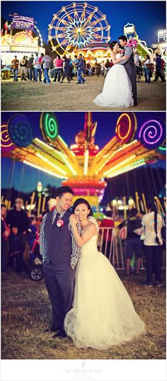 Love the lights at the county fair for these fun engagement photos!