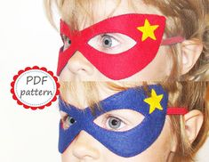 PDF PATTERN: reversible Super Hero felt mask - Red Blue - childrens comic costume - for boys girls adults - Dress Up play accessory