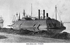 Ironclad. USS Essex, a 1000-ton ironclad river gunboat of the United States Army and later United States Navy during the American Civil War. This photo was taken in Baton Rouge, Louisiana by McPherson and Oliver, c.1862 - Stock Image