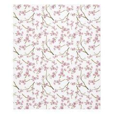 Sakura Cherry Blossom Print Fleece Blanket #sakura #cherryblossom #cherryblossoms #pattern #spring #summer #blossom