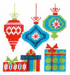 Mod Christmas Ornaments Cross Stitch Pattern Instant Download