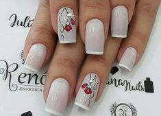 White iced thin french nails with rhinestone and floral nail art. Nail Manicure, Toe Nails, Pink Nails, Gorgeous Nails, Pretty Nails, Nagel Hacks, Nails Design With Rhinestones, Floral Nail Art, Elegant Nails