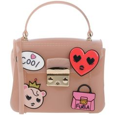 Furla Cross-body Bag (825 RON) ❤ liked on Polyvore featuring bags, handbags, pastel pink, pink crossbody purse, crossbody satchel, crossbody purses, pink satchel handbags and pink satchel purse