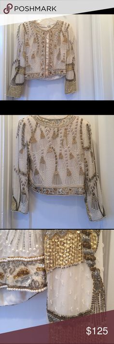 GORGEOUS Silk and Rayon Jacket Vintage, beautifully embroidered and embellished silk jacket with rayon lining. Shoulder pads (but can be taken out.) No missing beads. Heavy and wonderful quality!  Dry Clean Only. Smoke free home. Lawrence Kazar Jackets & Coats Blazers