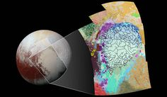 NASA maps part of Plutos complex terrain  Plutos surface looks pretty textured even from afar but you may still be surprised by how complex its terrain actually is. This new color-coded geological map illustrates that complexity more clearly. It covers 1290 miles of the dwarf planet including the left side of Plutos heart-shaped region and its surrounding areas. NASA has identified and labeled the texture and morphology of everything that falls within the rectangular map. The cracked bluish…