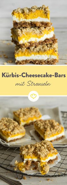 Autumn cuts: pumpkin cheesecake bars with cinnamon crumble topping- Herbstliche Schnitten: Kürbis-Cheesecake-Bars mit Zimt-Streuseln In this sweet treat hides the ultimate … - Pumpkin Cheesecake Bars, Cheesecake Recipes, Cookie Recipes, Dessert Recipes, Healthy Desserts, Healthy Foods, Biscuits Croustillants, Dessert Halloween, Cinnamon Crumble