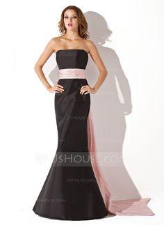 Bridesmaid Dresses - $99.99 - Mermaid Strapless Floor-Length Taffeta Bridesmaid Dress With Sash (007004268) http://jjshouse.com/Mermaid-Strapless-Floor-Length-Taffeta-Bridesmaid-Dress-With-Sash-007004268-g4268