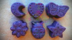 Do your kids love fun smelling soaps? Lavender fragrance mini soaps.  Purple color  You will get 3 different shapes from the ones pictured. (I choose)    Handmade Soap made with coconut oil, olive oil, palm oil, cocoa butter, water, lye, mineral mica powder (color), and lavender essential oil. ...