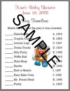toy timeline baby shower game ebay more baby idea baby camping baby