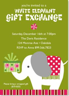 Free Printable Holiday White Elephant Invitation Templates White