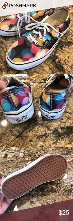 Colorful rare Vans. Fun shoes! My son bought them and was on to a new trend after 2 wears- good condition.  These are for women too!  Men size 6   Women 7.5 Vans Shoes Sneakers