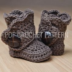 Crochet these modern booties for your special little ones!  These are a fun and fast project that any little one would LOVE to wear!      This listing is for The Pretty Boot PATTERN only.     Skill level: EASY  This pattern is written in standard American terms and includes photos of the process....