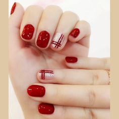 nails Elegant Wine red double line finished false nails,Silver flash powder short paragraph full Nail tips Patch,DIYart tool Red Nail Designs, Beautiful Nail Designs, Acrylic Nail Designs, Acrylic Nails, Matte Nails, Xmas Nails, Holiday Nails, Easy Christmas Nails, Fun Nails