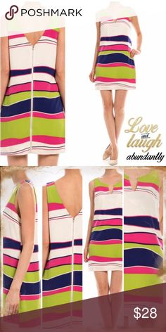 """DARLING ABSTRACT STRIPE DRESS This cute shift dress has bright, abstract stripes and a double v-neck. Very well made, lined. Front has a little half keyhole design. 100% polyester. 33-35"""" long.                                                      ♦️S: bust 35"""" waist 34.5"""" hips 38""""                             ♦️M: bust 36"""" waist 36.5"""" hips 41""""                            ♦️L: bust 38"""" waist 38.5"""" hips 44"""" tla2 Dresses Mini"""
