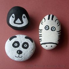 Black & white zoo critters painted rocks
