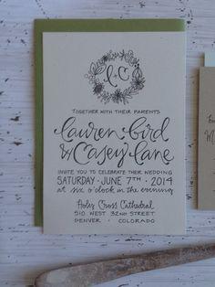 Rustic wreath calligraphy wedding invitation by GreySnailPress