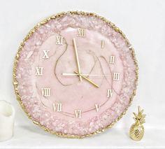 Epoxy Resin Table, Epoxy Resin Art, Diy Resin Art, Resin Crafts, Rose Quartz Color, Handmade Wall Clocks, Pink Gift Box, Resin Wall Art, Spiritual Decor