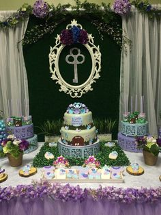 Dessert table at a garden baby shower! See more party planning ideas at CatchMyParty.com!
