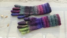 Handknitted Wool Gusset Gloves. Long Purple Green by dodofit