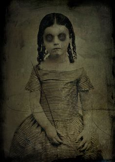 This little girl is alive and well. This old picture  is photoshoped.