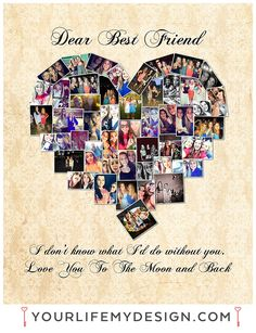 16x20 with 47 photos. Best Friend Heart Collage.  ❤ Background 21 Font 3