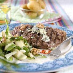 Entrecôte med gorgonzola och valnötter