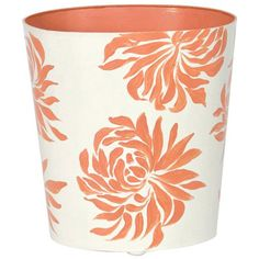 Worlds Away  Oval Wastebasket Orange Floral