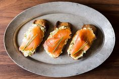 Smoked Salmon on Mustard-Chive and Dill Butter Toasts recipe on Food52