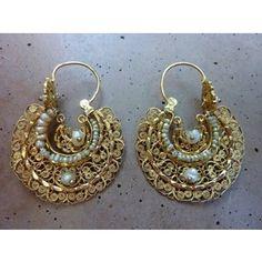 Rare Vtg Antique Mexican Oaxacan 14k Gold Seed Pearl Pierced Tribal Earrings