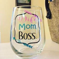 ON SALE Wife Mom Boss stemless wine glass by GraceKinleyDesigns