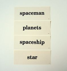 Vintage Word Flashcard Spaceman Planets by injoytreasures on Etsy, $10.00