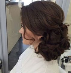 Curls, soft side bun, up style