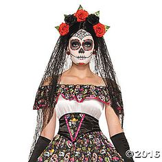 OFF or FREE SHIP -Day Of Dead Veil : A very exotic black veil headband that is the perfect accessory to any ladies, Day of the Dead costume. Long black veil on sides and back attached to a headpiece containing 5 roses of which are red and 2 are black) an Fancy Dress Accessories, Halloween Accessories, Costume Accessories, Clothing Accessories, Theme Halloween, Halloween Fancy Dress, Halloween Costumes, Adult Halloween, Halloween Makeup
