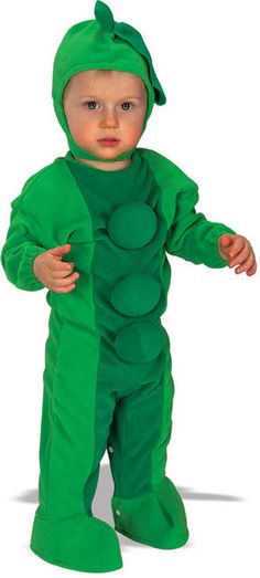 Infants Pea in Pod Funny Costume - This is a cute kids pea in a pod costume. It comes with a one piece jumper that fastens in the back and attached shoe or feet covers. The peas are padded and the wrists are elastic. To finish the look is a padded pea head piece that goes on like a hood and fastens below the chin. #pea #infant #vegetable #food #yyc #calgary #costume