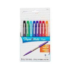 Amazon.com : Paper Mate Flair Porous-Point Felt Tip Pen, Ultra-Fine, 8-Pack, Core Colors, (62145) : Felt Tip Pens : Office Products