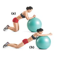 "Sit on your knees in front of a Swiss ball and place your forearms and fists on the ball. Brace your core.    Slowly roll the ball forward, straightening your arms and extending your body as far as you can without allowing your lower back to ""collapse."" Use your abs to pull the ball back to your knees. That's one rep."