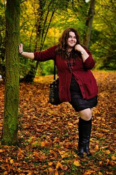 ThePlusSizeBlog.com - plus size outfit - burgundy cardigan, tartan shirt, black lace skirt and high black boots.