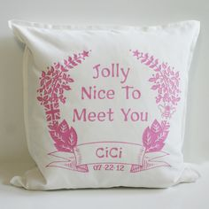 Welcome to Brit and Bee - uniquely personal custom Greek sorority throw pillows and gifts with a Brit of a twist. Looking for something that's the bee's knees? Bed Pillows, Cushions, Bees Knees, Perfect Pillow, Nice To Meet, Birth, Pillows, Throw Pillows, Cushion