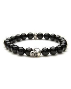Degs & Sal Mens Beaded Skull Bracelet in Black Onyx Skull Bracelet, Beaded Skull, Black Onyx, Crafts To Make, Neiman Marcus, Man Shop, Sterling Silver, Beads, Bracelets