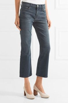 Current/Elliott - The Kick Cropped Mid-rise Flared Jeans - Dark denim - 30