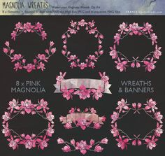 SALE. Magnolia Flower Wreath & Banner Clip by FRANCEillustration, $4.00