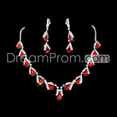 Luxurious Alloy with Rhinestone Wedding Jewelry Set(Including Necklace and Earrings)