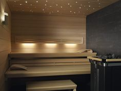 Sky full of stars - Fibreoptic lighting Sauna Design, Finnish Sauna, Sauna Room, Sky Full Of Stars, Spa Rooms, Lounge, Blinds, Lights, Saunas