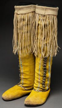 American Indian Art: Beadwork & Quillwork Pair of Comanche Boots Beaded Fringed Hide Moccasins. c. 1900 http://fineart.ha.com/c/item.zx?saleNo=5117&lotNo=50159