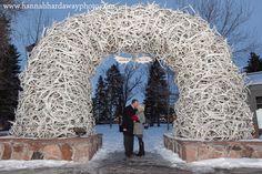 Jackson Hole Wedding Photographer || Hannah Hardaway || Jackson, Wyoming Wedding Photography || Jackson Hole, Wyoming Elopements || Downtown Jackson Square || The Million Dollar Cowboy Bar || Playful portrait of the bride and groom || Jackson Square Antler Arch || www.hannahhardawayphoto.com