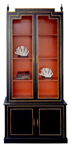 Bibliotheque Bookcase Cabinet Chinoiserie Red Painted Interior