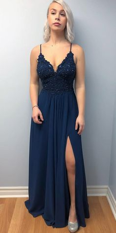 Spaghetti Straps Long Prom Dress with Appliques Fahion Long Side Slit School Dance Dresses Custom Made Long Open Back Evening Gowns Navy Blue Formal Dress, Navy Blue Prom Dresses, Grad Dresses, Homecoming Dresses, Long Navy Blue Dress, Navy Gown, Blue Maxi, Best Formal Dresses, Sexy Dresses