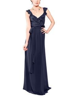 Stylist NotesFlirty ruffle and a sexy v-neck. For a little extra coverage, you can add a hidden clasp at the bust or pull up the sleeves. Super easy. -MorganDescriptionJoanna August Lacey LongFull length bridesmaid dressV�necklineNatural waistWrap�StyleChiffon