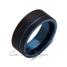8mm,New,Unique,Black Brushed, Blue Groove,Tungsten Ring,Mens Wedding Band,Blue Ring,Comfort Fit - LUXURY BANDS LA